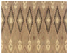 Beige Ikat Diamond Pattern Wool Rug