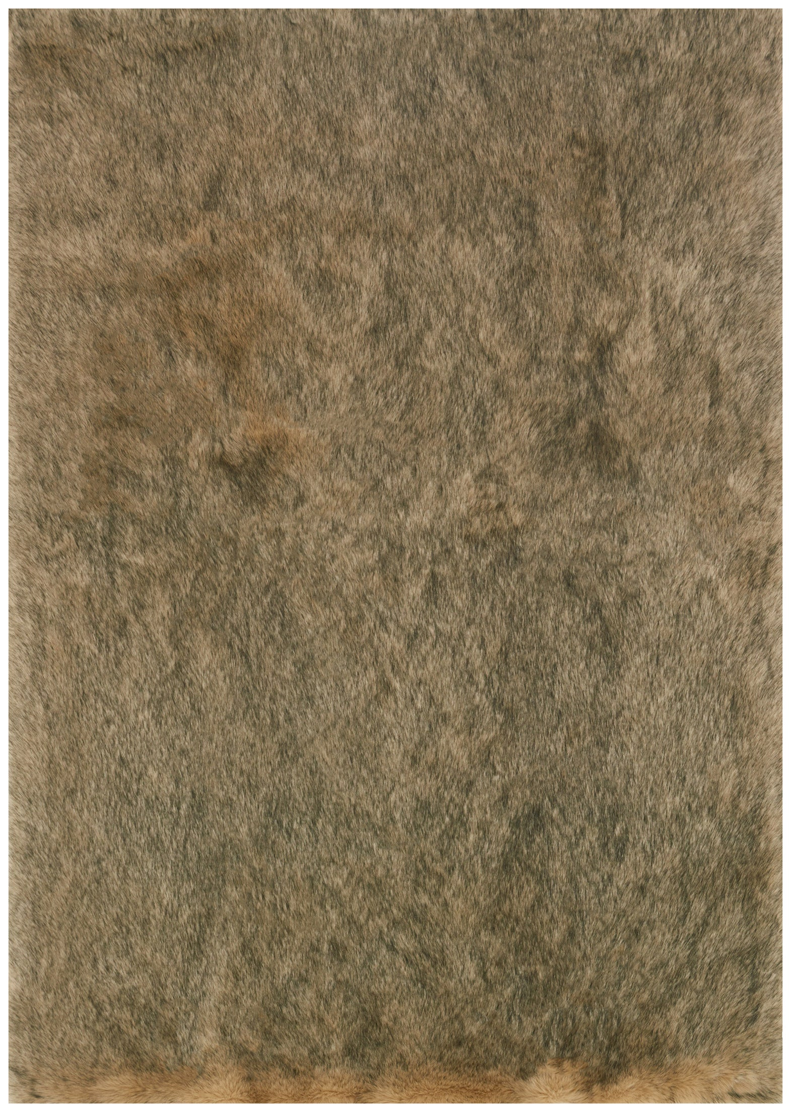 Modern Beige Tan and Black Faux Fur Rug