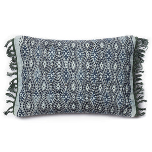 Blue Diamond Pillow Green Fringe