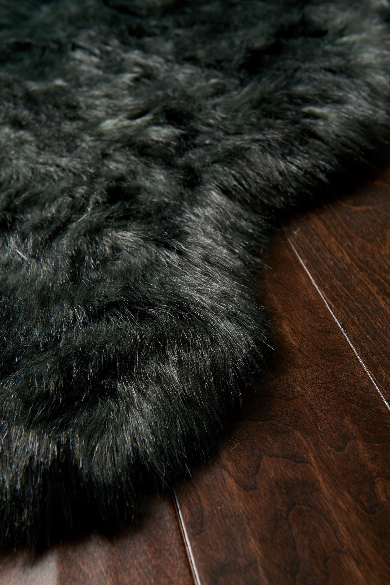 Black Faux Sheepskin Fur Rug