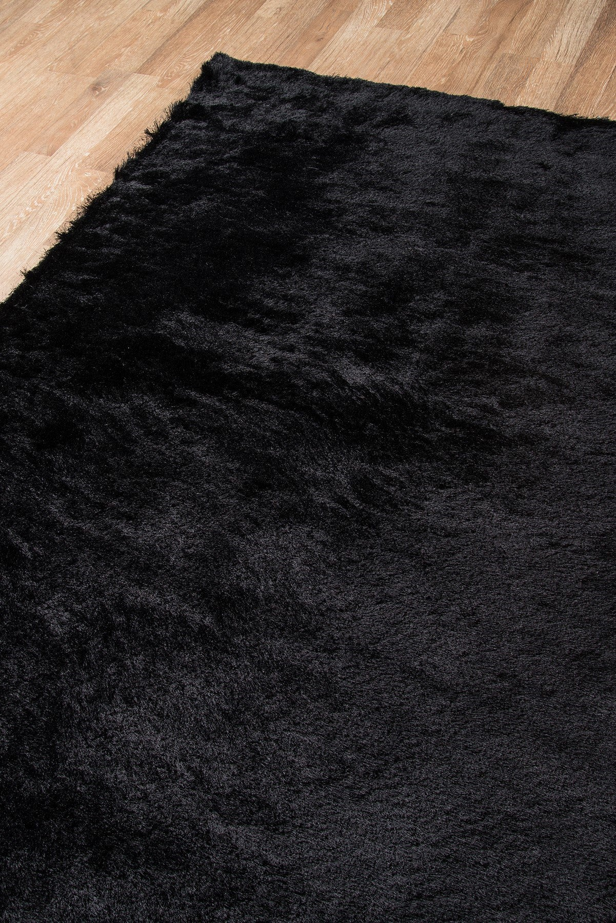 Black Plush Luxurious Mid Century Modern Shag Rug