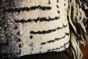 Black and Ivory Handwoven Bohemian Shag Pillow