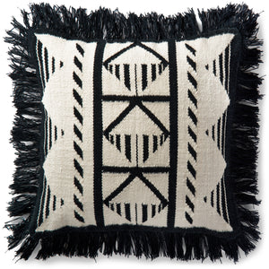 Black and Ivory White Boho Tribal Pattern Pillow With Fringe