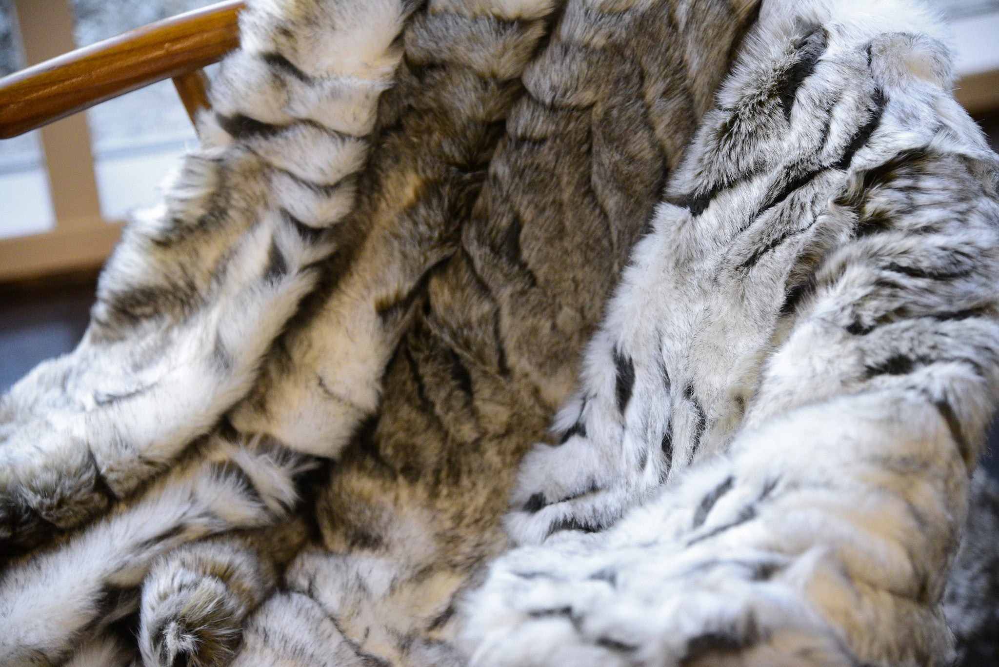 Gray and White Faux Fur Throw Blanket