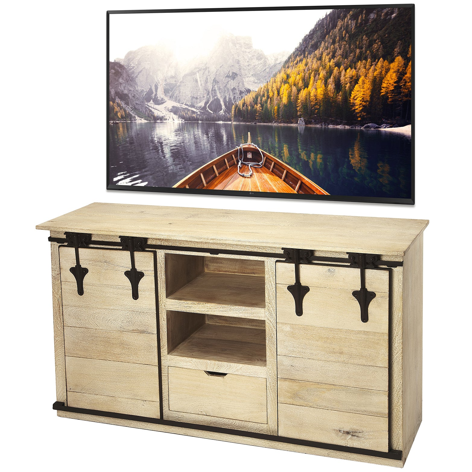 Blonde Solid Wood Barn Door TV Stand