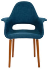 Blue Mid Century Modern Retro Wood Leg Arm Chairs - Set of 2