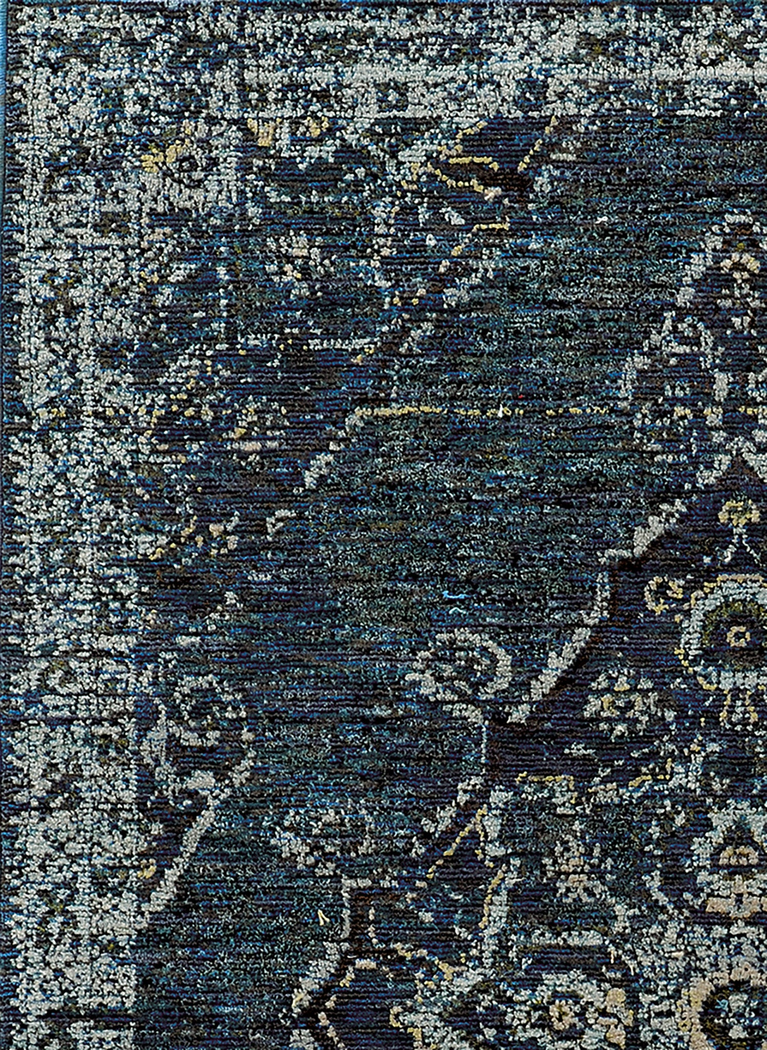Blue Worn Faded Traditional Vintage Style Rug Woodwaves