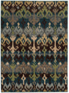 Blue and Green Ikat Pattern Wool Area Rug