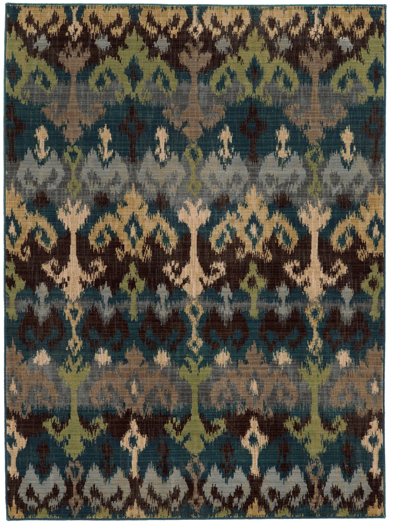 blue and green ikat pattern wool area rug  woodwaves - blue and green ikat pattern wool area rug