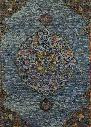 Blue And Purple Faded Persian Style Rug