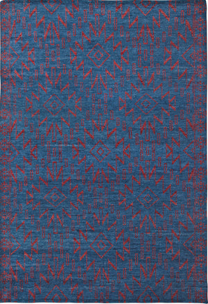 Blue and Red Southwest Santa Fe Pattern Wool Area Rug