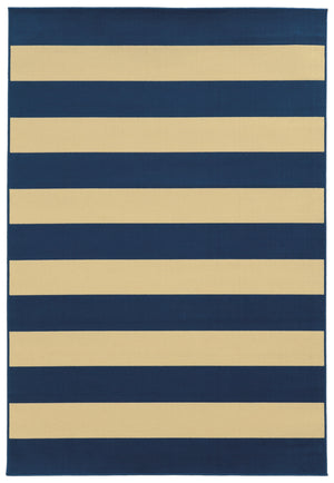 Blue and Tan Striped Modern Outdoor Rug