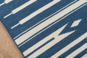 Blue and White Striped Southwest Flatweave Rug - Erin Gates - Thompson