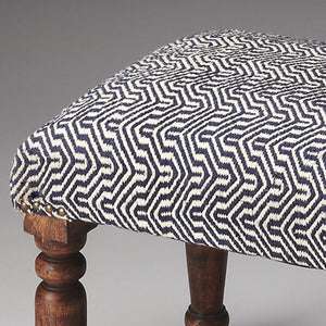 Blue and White Chevron Patterned Ottoman Stool with Sheesham Wood Legs