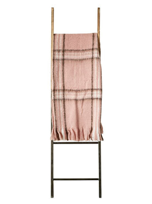 Blush Pink Soft Mohair and Acrylic Throw Blanket