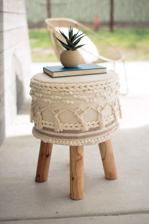 Boho Stool Ottoman With Wood Legs