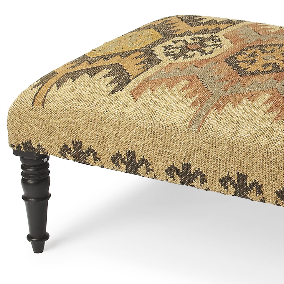 Bohemian Jute and Wood Ottoman