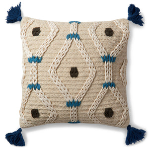 Boho Blue Ivory Cream Knit Braided Wool Pillow