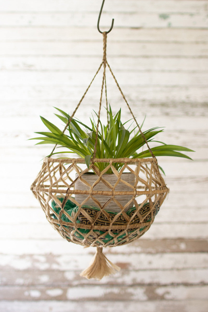 Bohemian Natural Braided Hanging Plant Holder