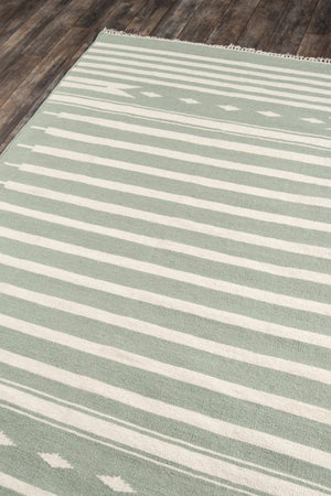 Green and White Striped Southwest Flatweave Rug - Erin Gates - Thompson