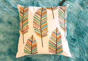 Bohemian Boho Multi Color Leaf Pillow
