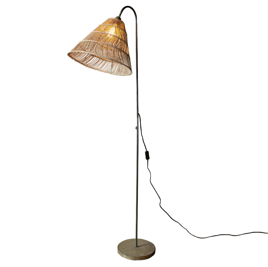 Bohemian Rattan and Metal Floor Lamp