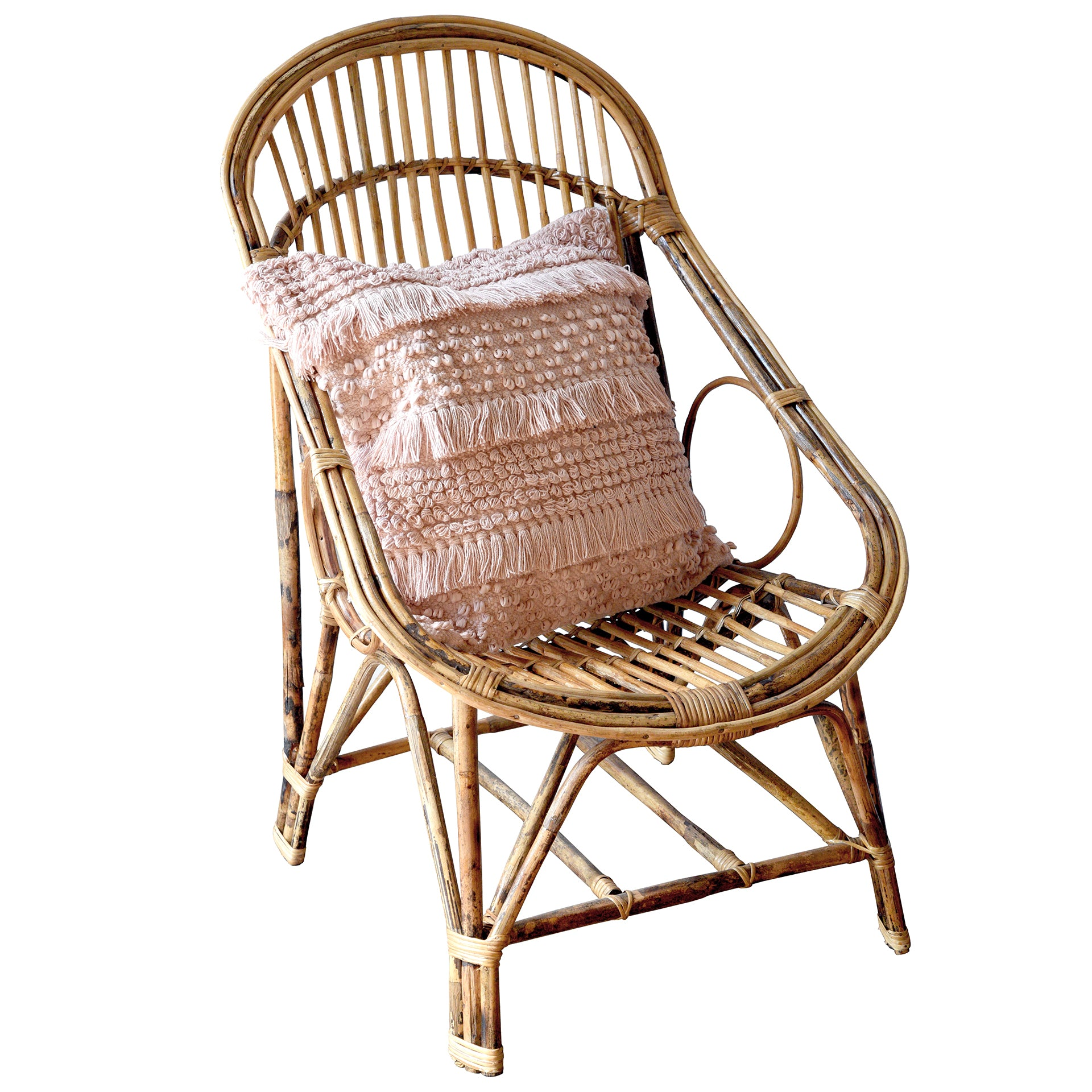 Boho Wicker Rattan Cane Chair