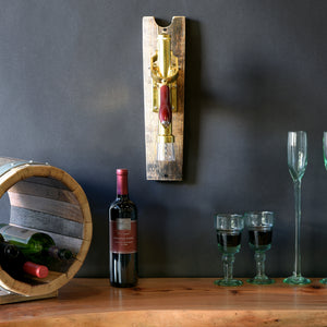 Brass Wall Mount Wine Bottle Corkscrew Opener On Reclaimed Wood Barrel Stave