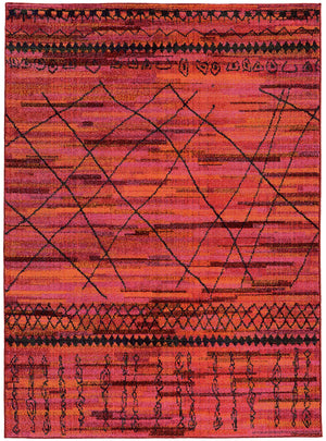 Red and Pink Abstract Pattern Rug