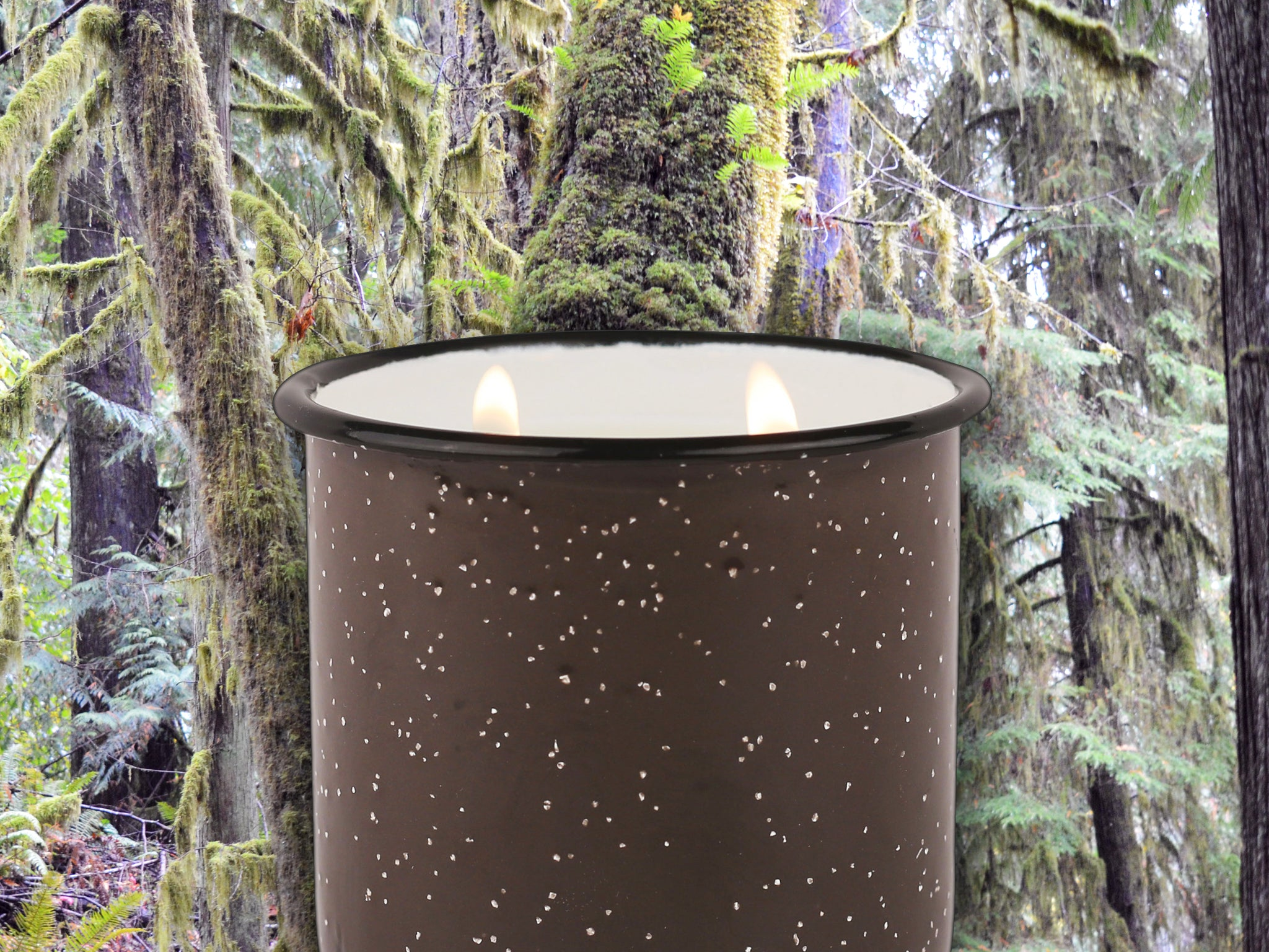 Brown Enamel Camping Mug Candle - Tobacco & Moss - Woods Scented