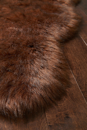 Brown Faux Sheepskin Fur Rug