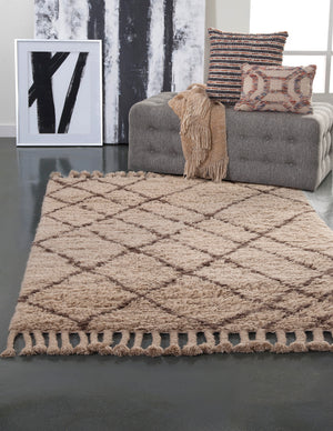 Brown Moroccan Boho Wool Shag Rug
