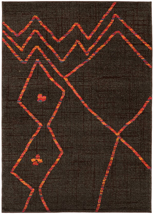 Dark Brown and Orange Abstract Modern Pattern Area Rug