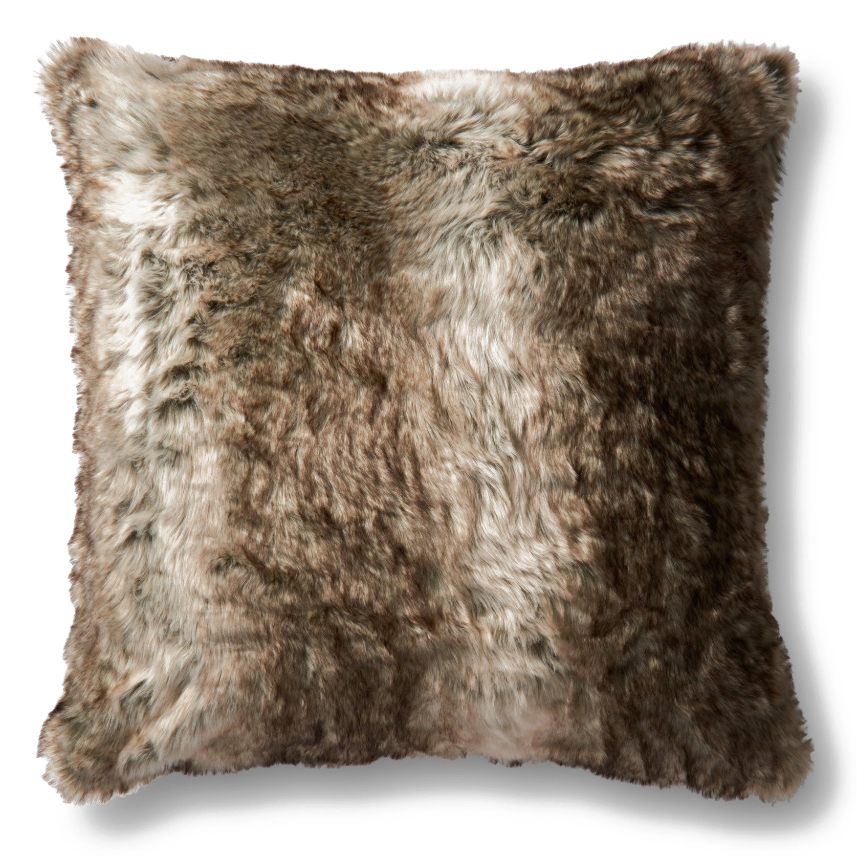 Brown and Tan Faux Fur Pillow