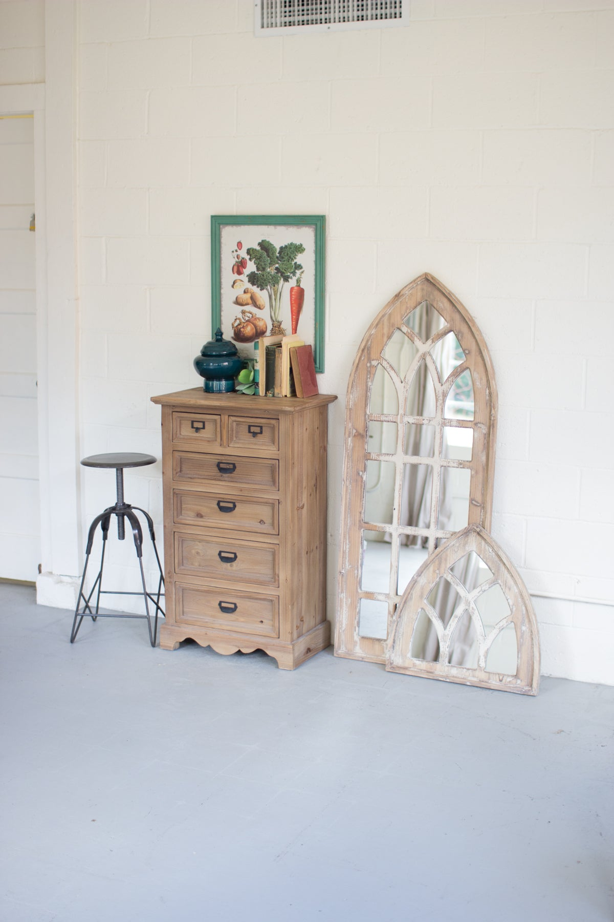 Rustic Arched Wood Mirror