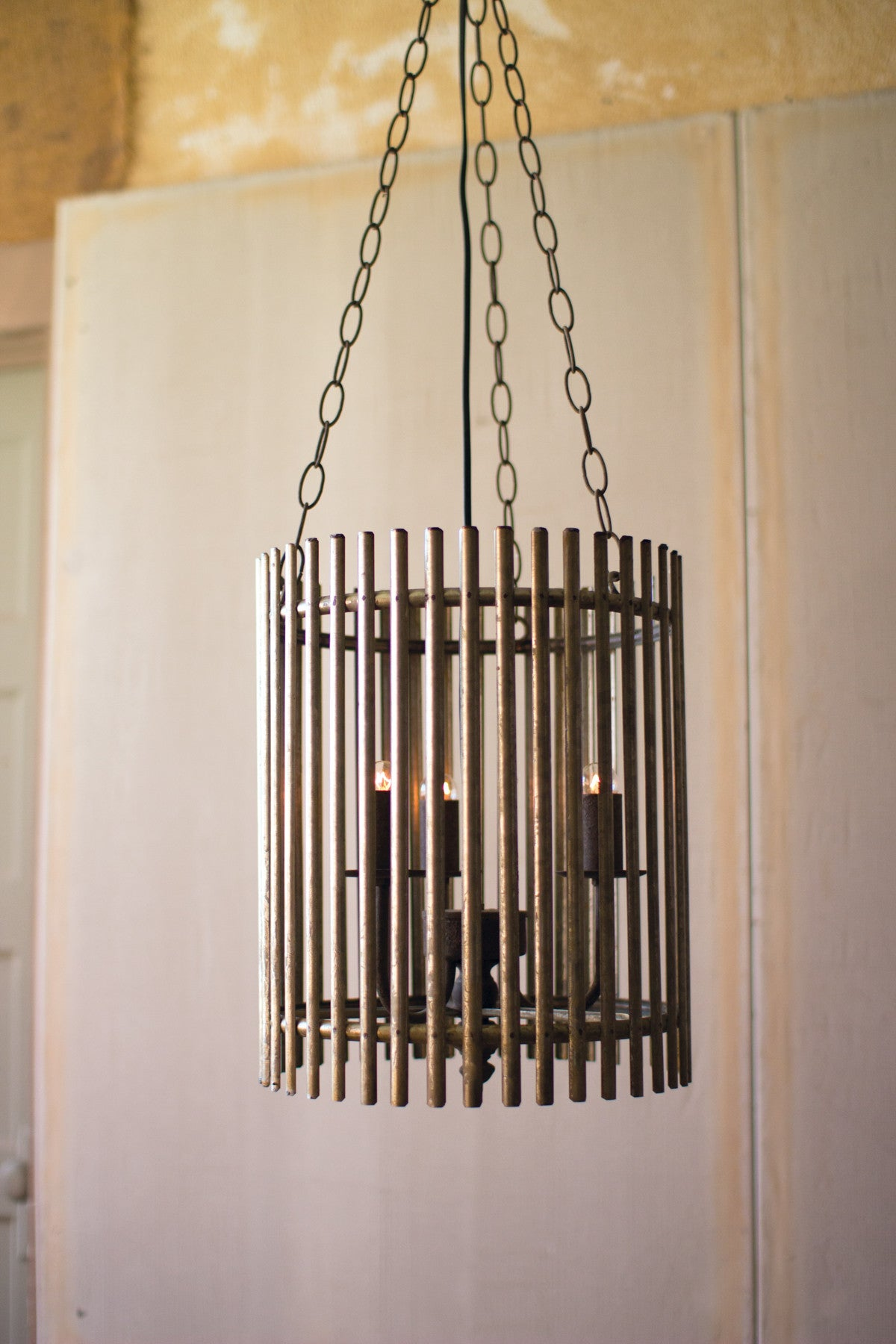 Rustic Iron Slat Chandelier Woodwaves
