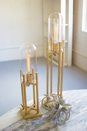 Large Gold Brass Finish Glass Dome Edison Table Lamp