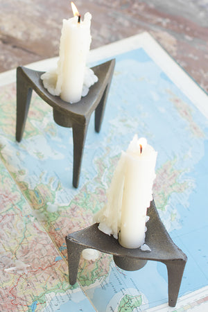 Modern Cast Iron Brass Finish Taper Candle Holders - Set of 3
