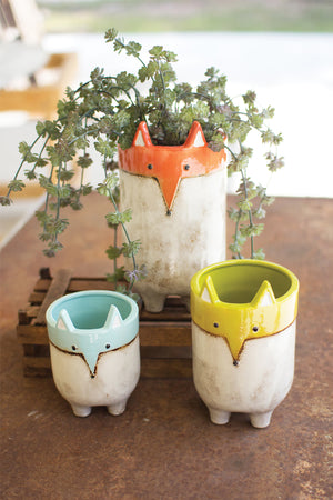 Ceramic Fox Planters - Set of 3