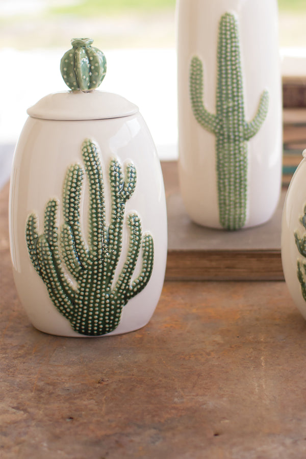 Ceramic Southwest Cactus Cacti Canisters - Set of 3 ...