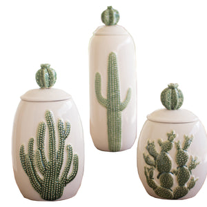 Ceramic Southwest Cactus Cacti Canisters - Set of 3