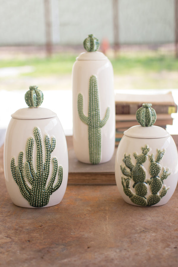Ceramic Southwest Cactus Cacti Canisters Set Of 3
