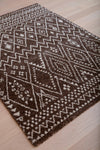 Chocolate Gray & Ivory Zig Zag Moroccan Medieval Pattern Rug