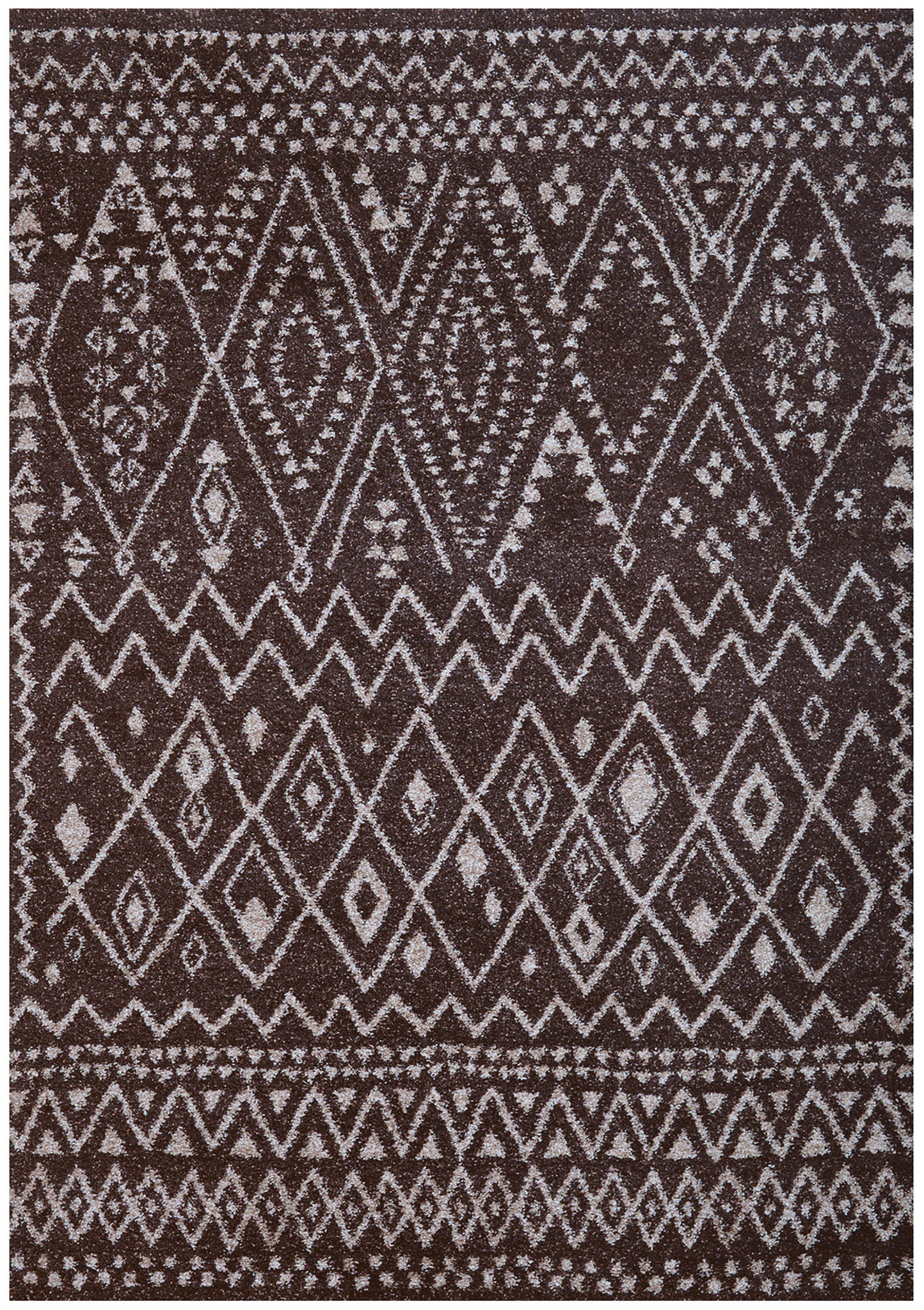 rugs  woodwaves - chocolate gray  ivory zig zag moroccan medieval pattern rug