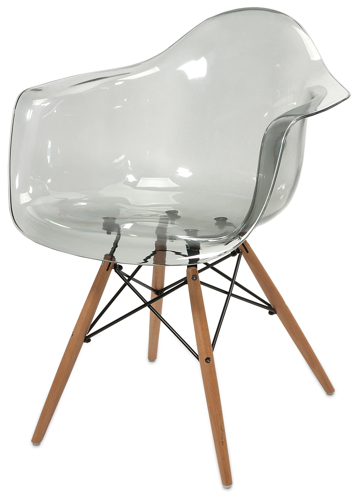 Clear Transparent Mid Century Modern Retro Wood Leg Chairs Set