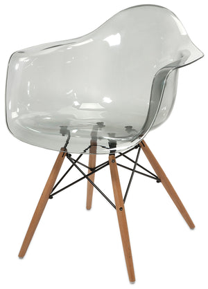 Clear Transparent Mid Century Modern Retro Wood Leg Chairs - Set of 2