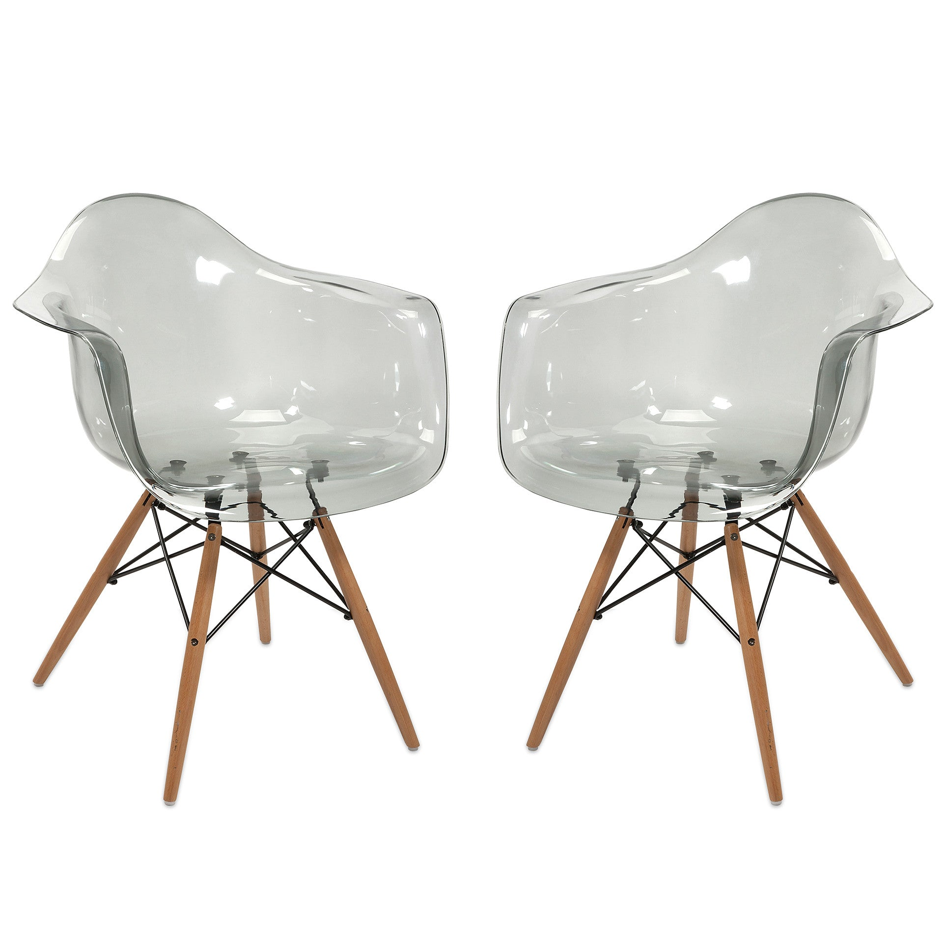 Charmant Clear Transparent Mid Century Modern Retro Wood Leg Chairs   Set Of 2