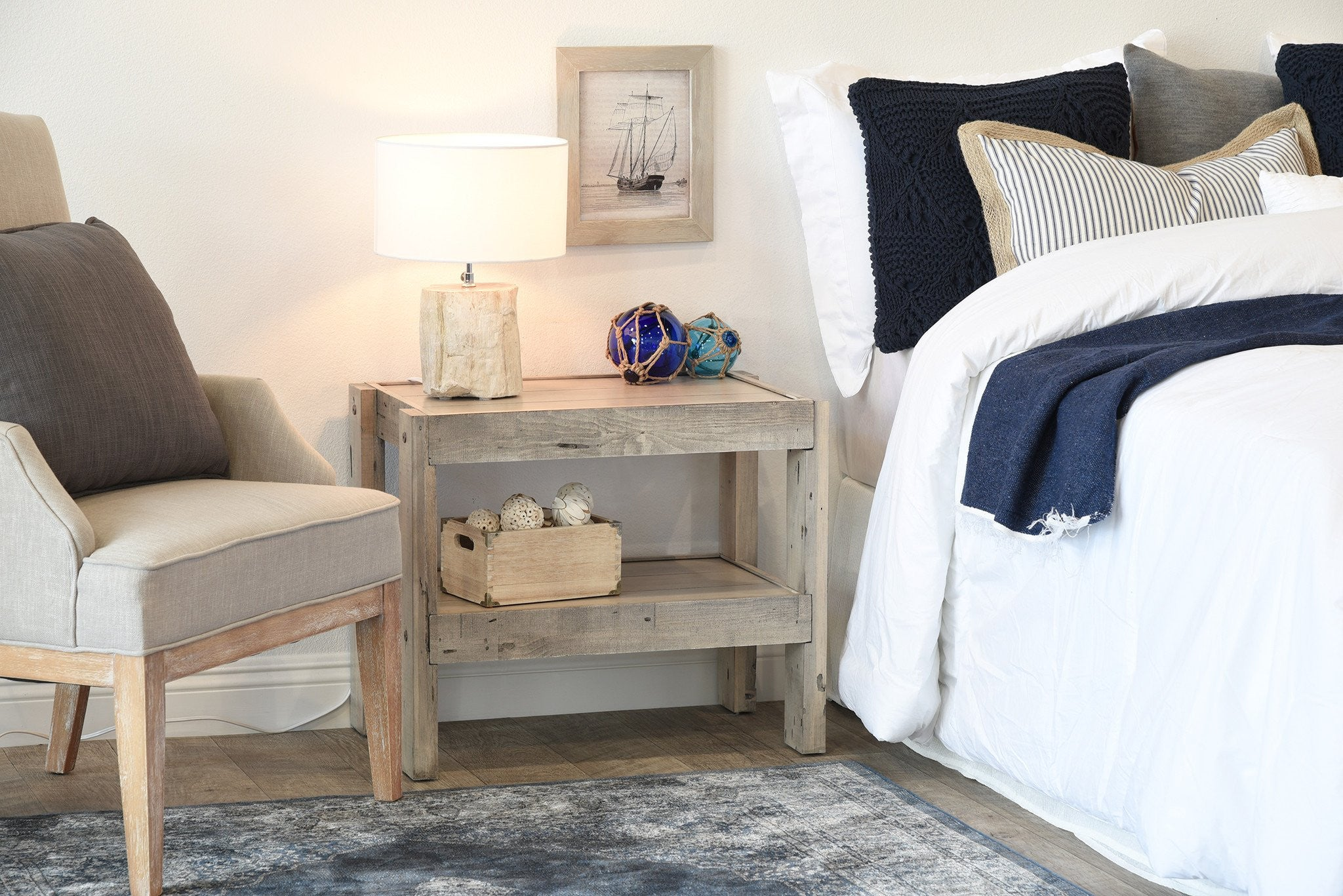 Gray Beach House Rustic End Table / Nightstand   PresEARTH Driftwood