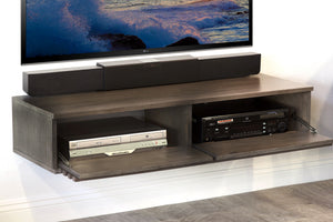 Gray Wall Mount Floating TV Stand - Lotus - Driftwood