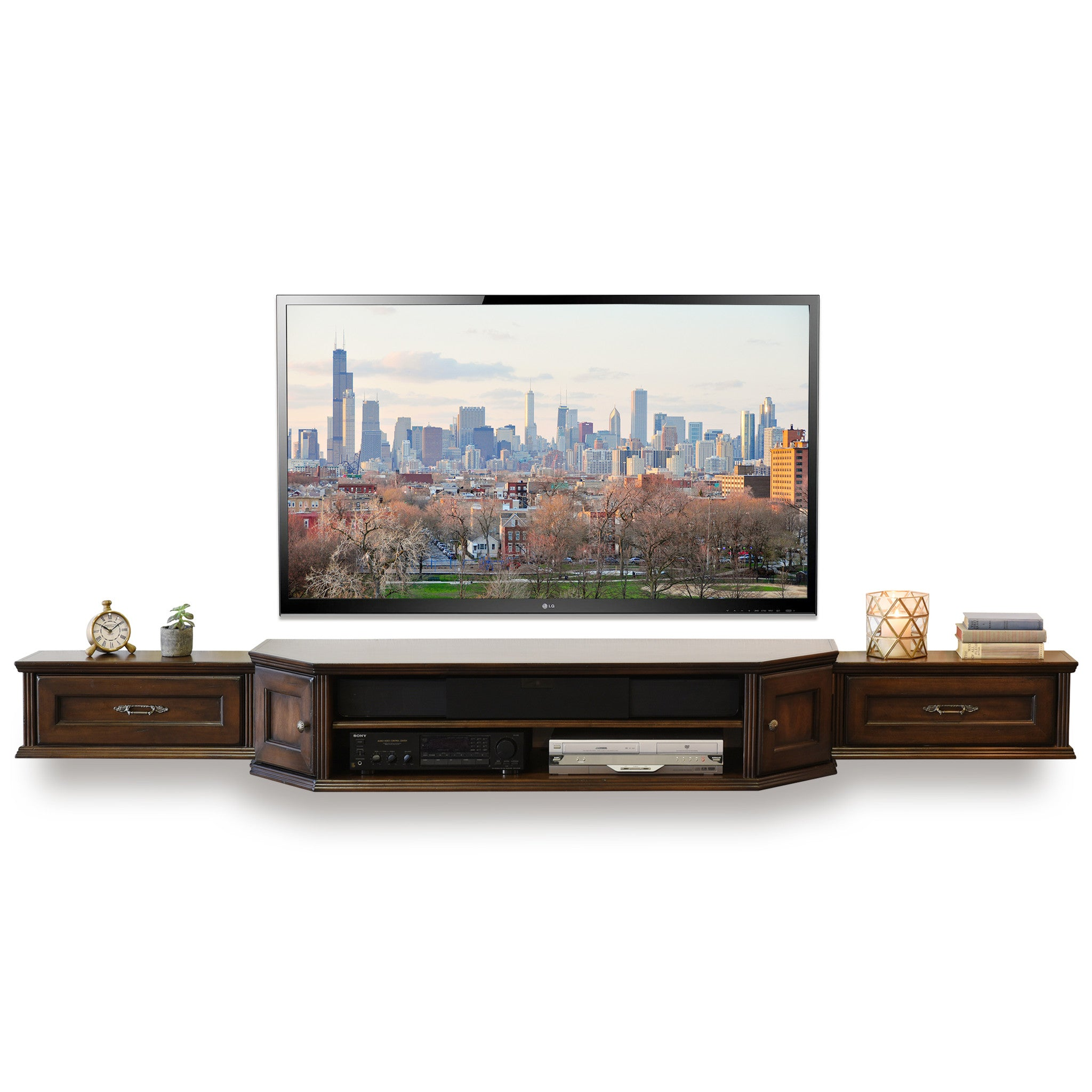 Tv Entertainment Stand Coastal Transitional Floating Entertainment Tv Media Stand